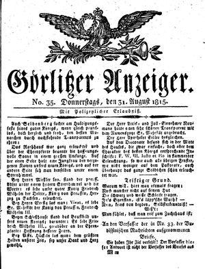 Görlitzer Anzeiger vom 31.08.1815