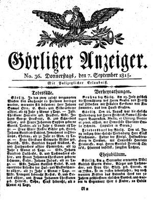 Görlitzer Anzeiger vom 07.09.1815