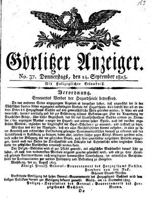 Görlitzer Anzeiger vom 14.09.1815