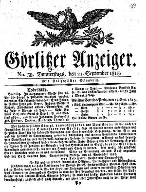 Görlitzer Anzeiger vom 21.09.1815
