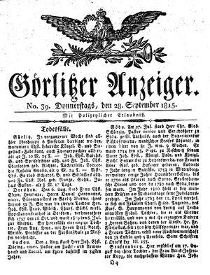 Görlitzer Anzeiger vom 28.09.1815