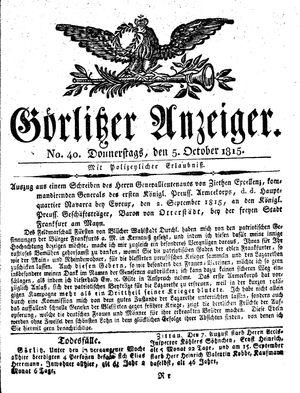Görlitzer Anzeiger vom 05.10.1815