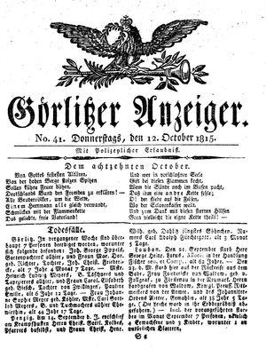 Görlitzer Anzeiger vom 12.10.1815