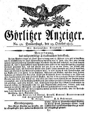 Görlitzer Anzeiger vom 19.10.1815