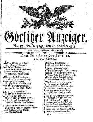 Görlitzer Anzeiger on Oct 26, 1815
