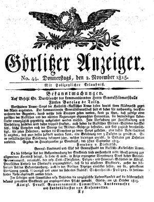 Görlitzer Anzeiger vom 02.11.1815