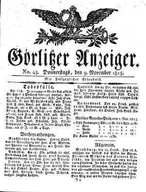 Görlitzer Anzeiger vom 09.11.1815