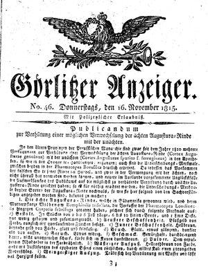 Görlitzer Anzeiger vom 16.11.1815