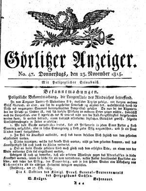 Görlitzer Anzeiger vom 23.11.1815