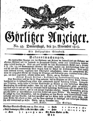 Görlitzer Anzeiger vom 30.11.1815
