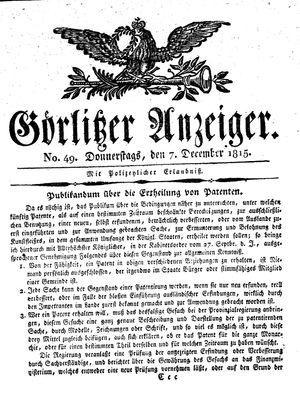 Görlitzer Anzeiger vom 07.12.1815