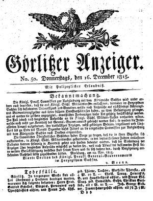 Görlitzer Anzeiger vom 16.12.1815
