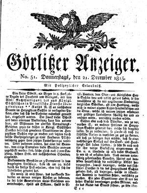 Görlitzer Anzeiger vom 21.12.1815