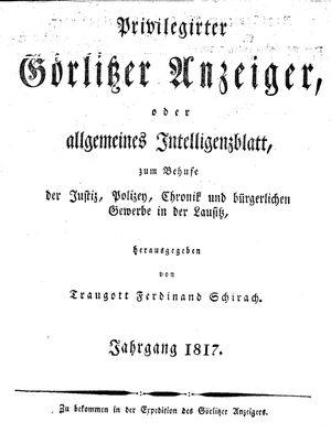 Görlitzer Anzeiger vom 01.01.1817