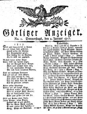 Görlitzer Anzeiger vom 02.01.1817