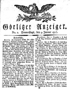 Görlitzer Anzeiger vom 09.01.1817