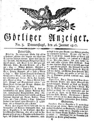 Görlitzer Anzeiger vom 16.01.1817