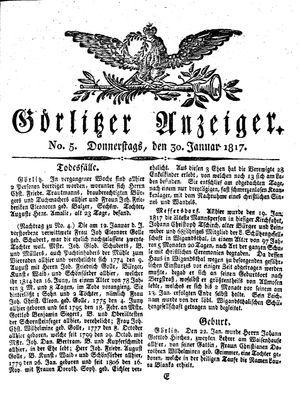 Görlitzer Anzeiger vom 30.01.1817