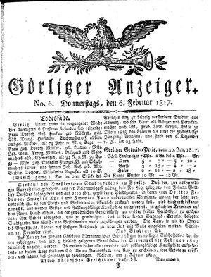 Görlitzer Anzeiger on Feb 6, 1817