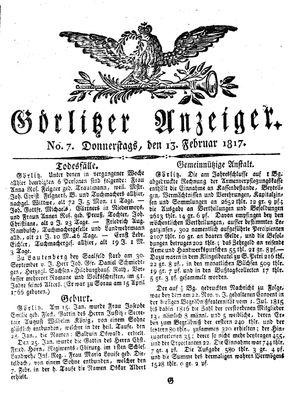 Görlitzer Anzeiger vom 13.02.1817