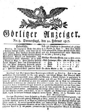Görlitzer Anzeiger vom 20.02.1817