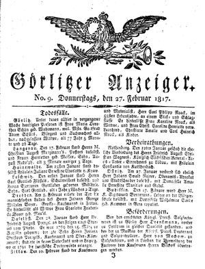 Görlitzer Anzeiger vom 27.02.1817