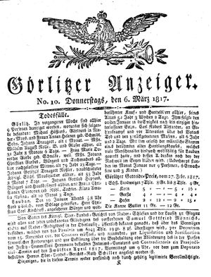 Görlitzer Anzeiger vom 06.03.1817