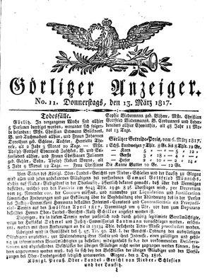 Görlitzer Anzeiger vom 13.03.1817