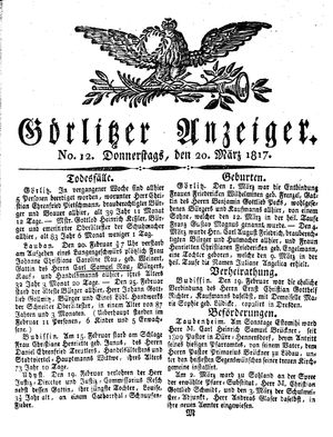 Görlitzer Anzeiger vom 20.03.1817