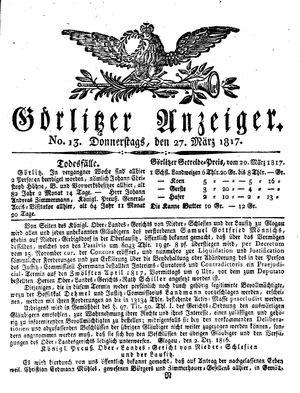 Görlitzer Anzeiger vom 27.03.1817