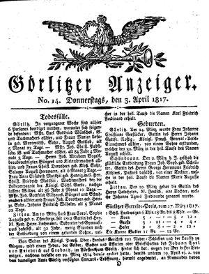 Görlitzer Anzeiger vom 03.04.1817