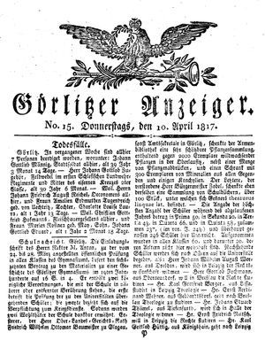 Görlitzer Anzeiger vom 10.04.1817