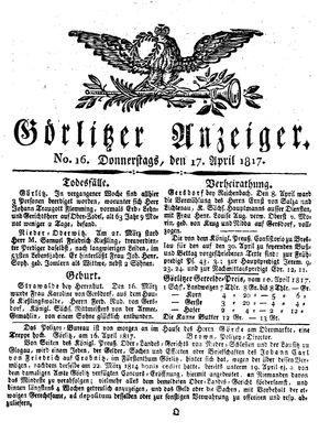 Görlitzer Anzeiger vom 17.04.1817