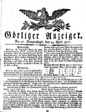 Görlitzer Anzeiger vom 24.04.1817
