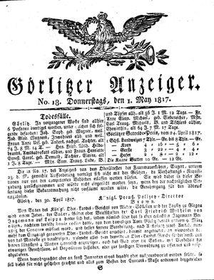 Görlitzer Anzeiger vom 01.05.1817