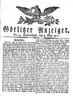 Görlitzer Anzeiger vom 08.05.1817
