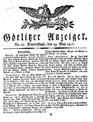 Görlitzer Anzeiger vom 29.05.1817