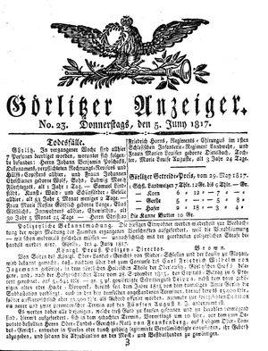 Görlitzer Anzeiger vom 05.06.1817
