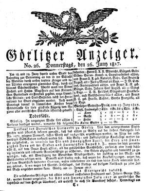 Görlitzer Anzeiger vom 26.06.1817