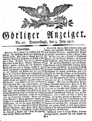 Görlitzer Anzeiger vom 03.07.1817