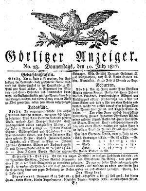Görlitzer Anzeiger vom 10.07.1817