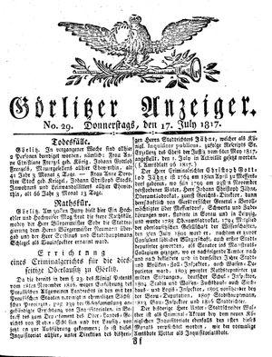 Görlitzer Anzeiger vom 17.07.1817