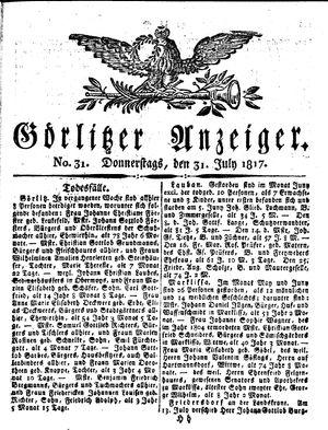 Görlitzer Anzeiger on Jul 31, 1817
