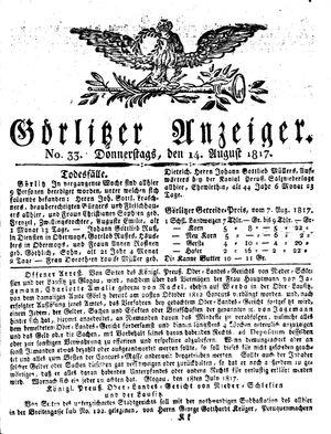 Görlitzer Anzeiger vom 14.08.1817