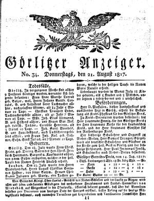 Görlitzer Anzeiger vom 21.08.1817
