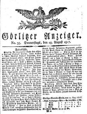Görlitzer Anzeiger vom 28.08.1817