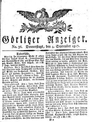 Görlitzer Anzeiger vom 04.09.1817