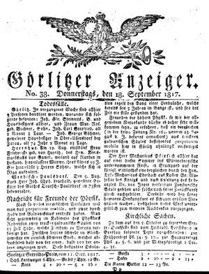 Görlitzer Anzeiger vom 18.09.1817