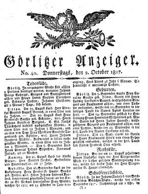 Görlitzer Anzeiger vom 02.10.1817