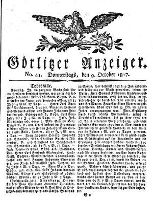 Görlitzer Anzeiger vom 09.10.1817